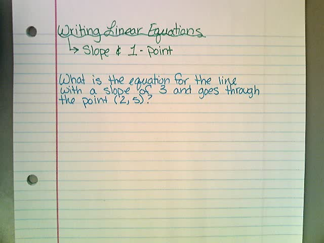 Writing Equations with Slope and 1 Point