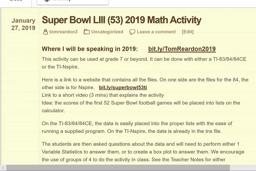 Super Bowl 53 Math Activities and Fun Facts Grades 7 thru 12