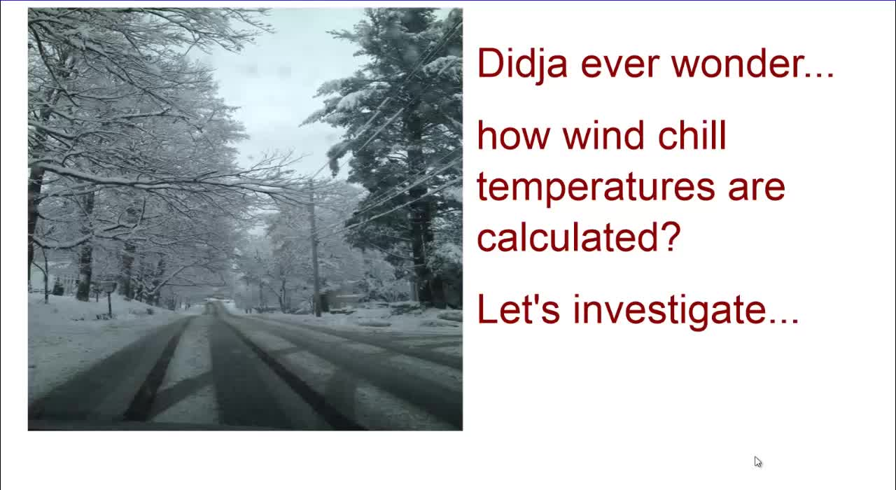 Wind Chill - an excellent math activity - TI-84