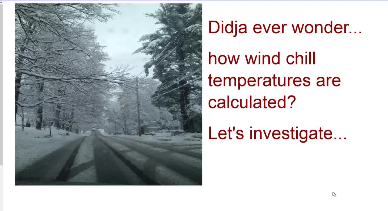 Wind Chill - An Excellent Math Activitiy - TI-Nspire