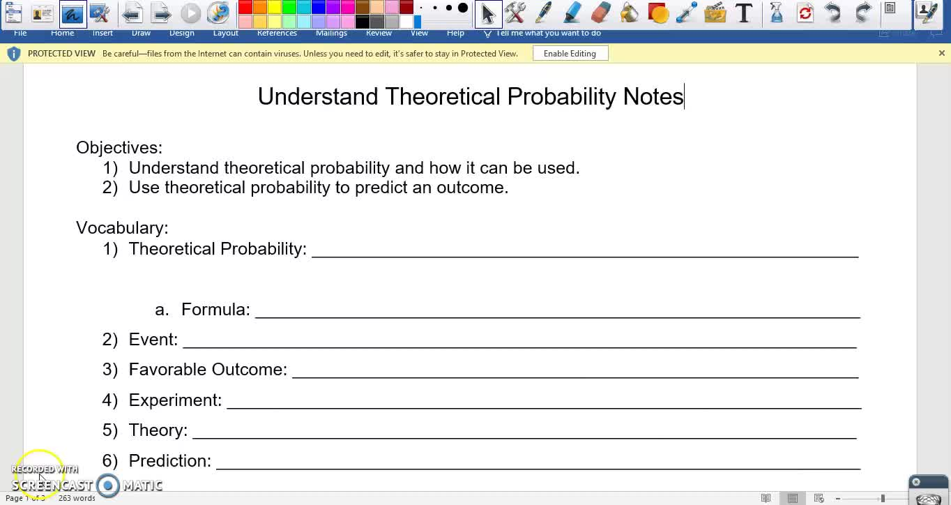 Theoretical Probability Notes