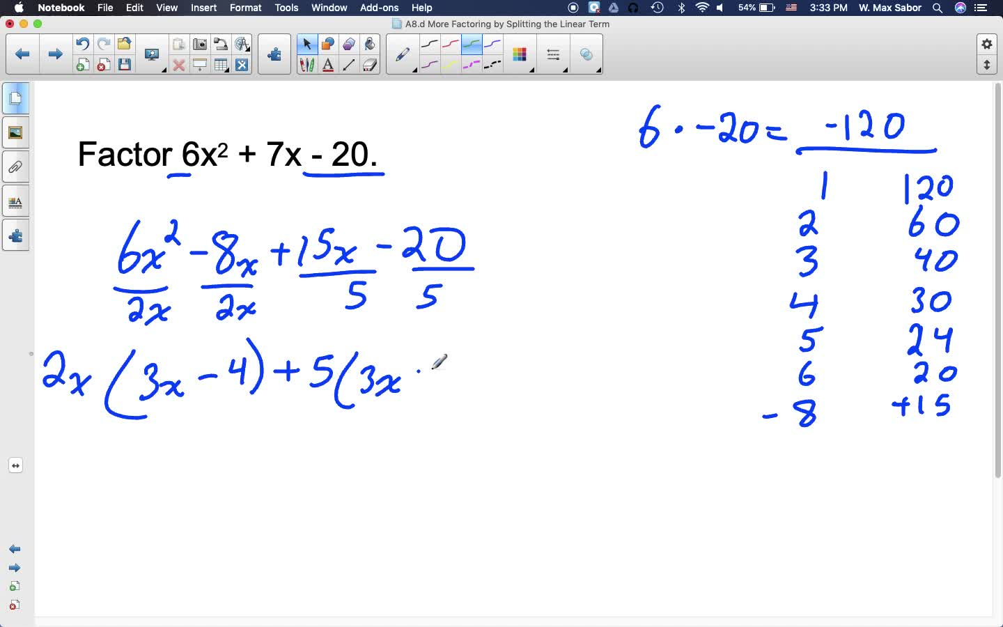 A8.d More Factoring by Splitting the Linear Term