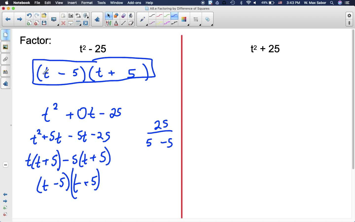A8.e Factoring by Difference of Squares