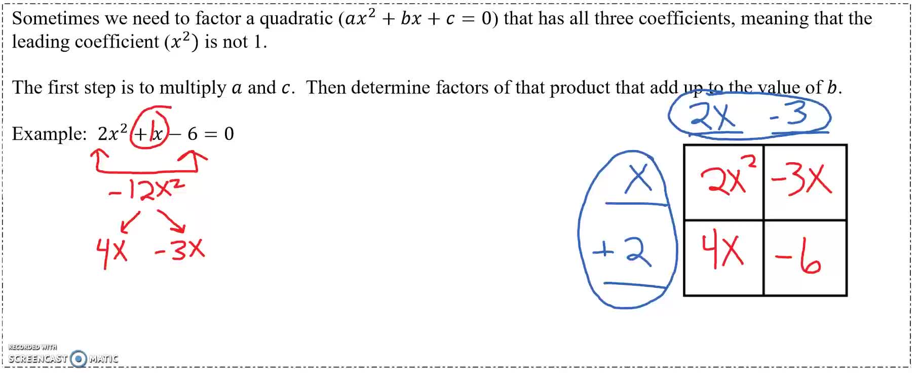 Factoring with the Box Method Example