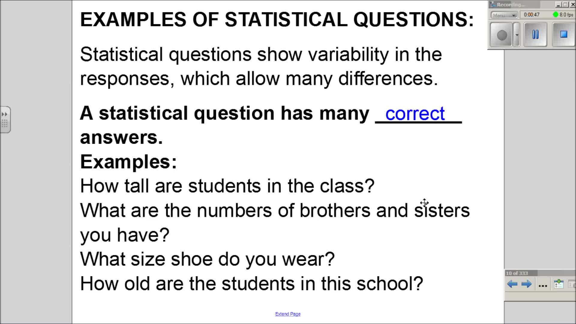 6.SP.1 - What is a Statistical Question