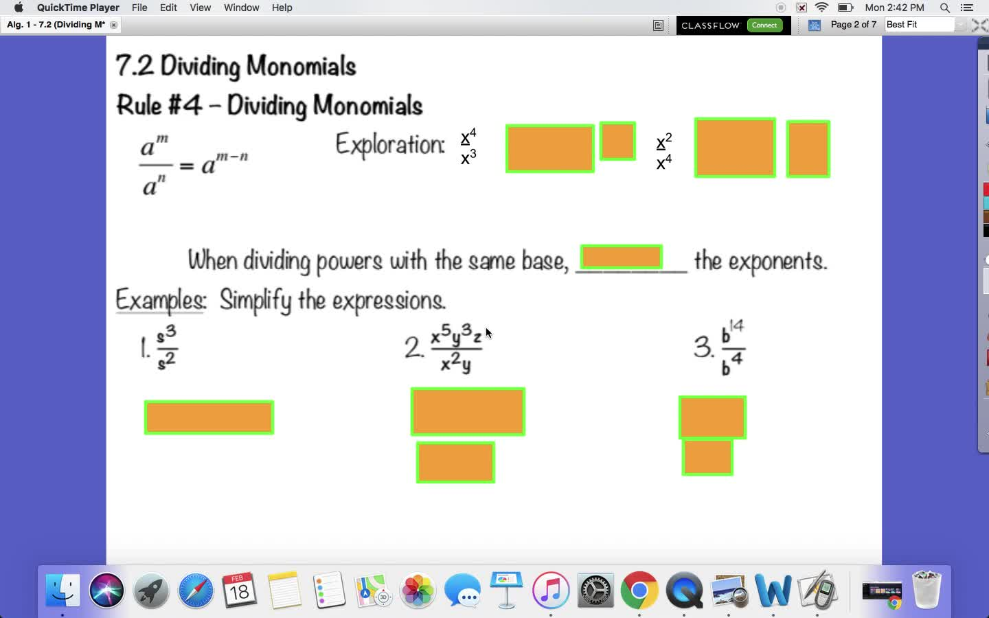 Dividing Monomials Notes 7.2 Algebra 1