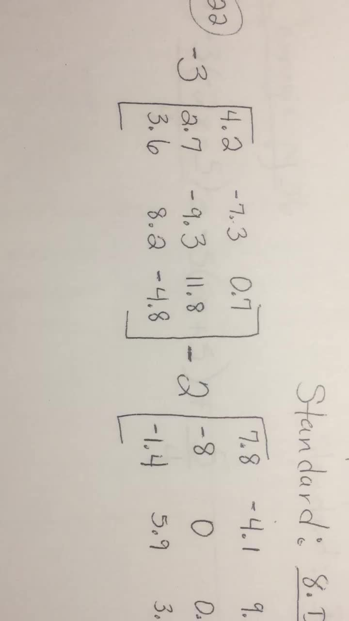 Matrices-Video1of6-Multiply, Add, Subtract Decimals