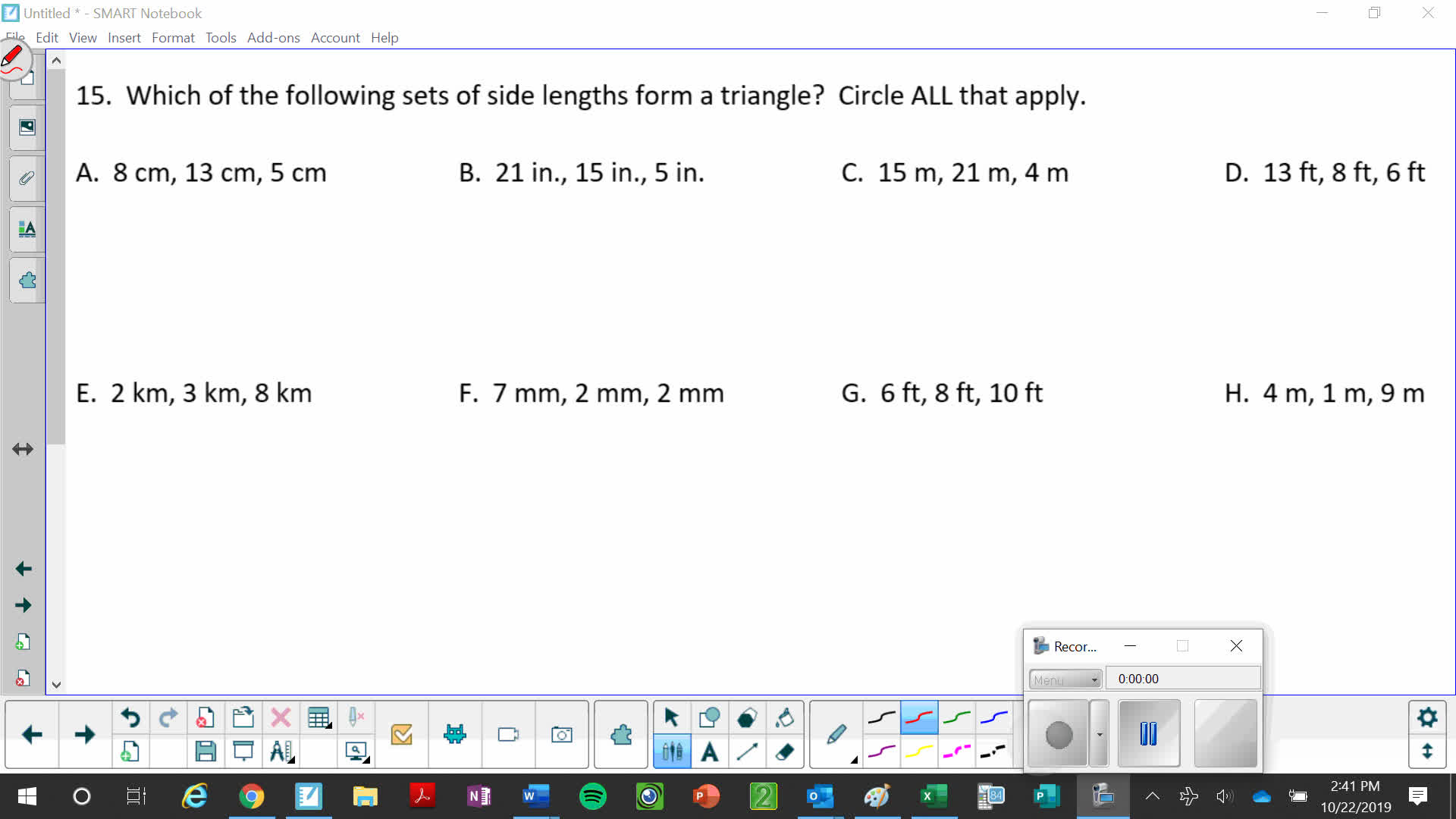 Sets of Side Lengths that Form a Triangle