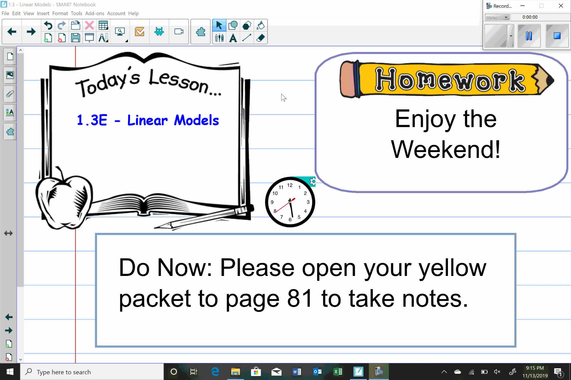 Algebra I 11/15 Lesson