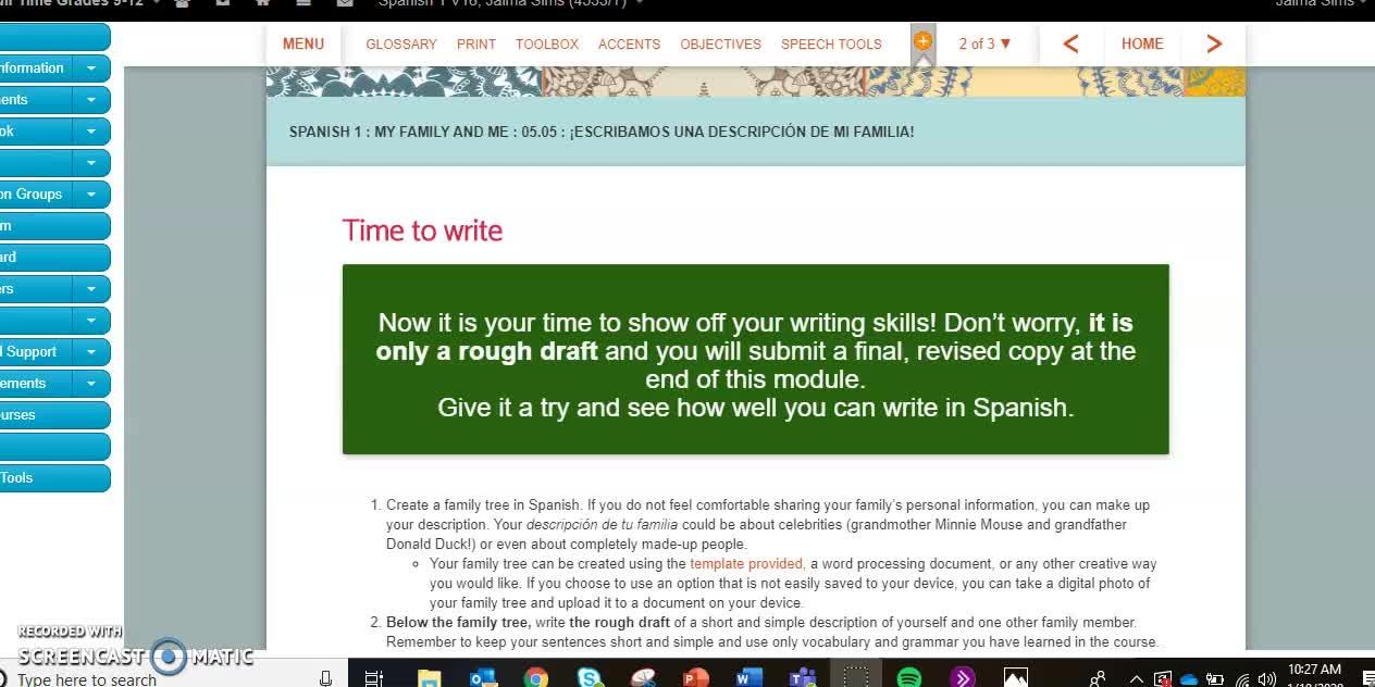 Spanish I 505 Help Video