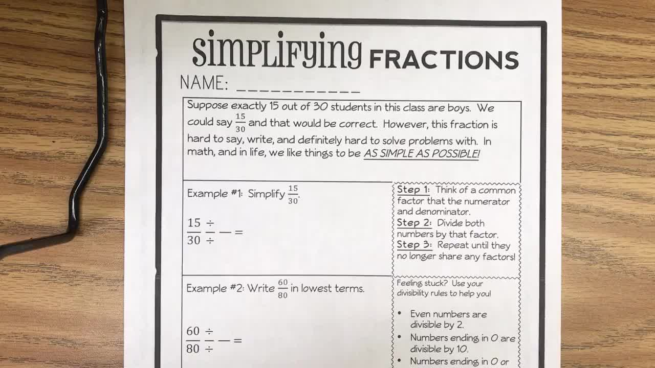 Review Unit 4, Day 4 Simplfy Fractions
