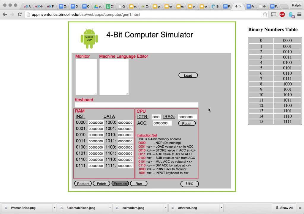 4-Bit Computer Simulator - Generation 1