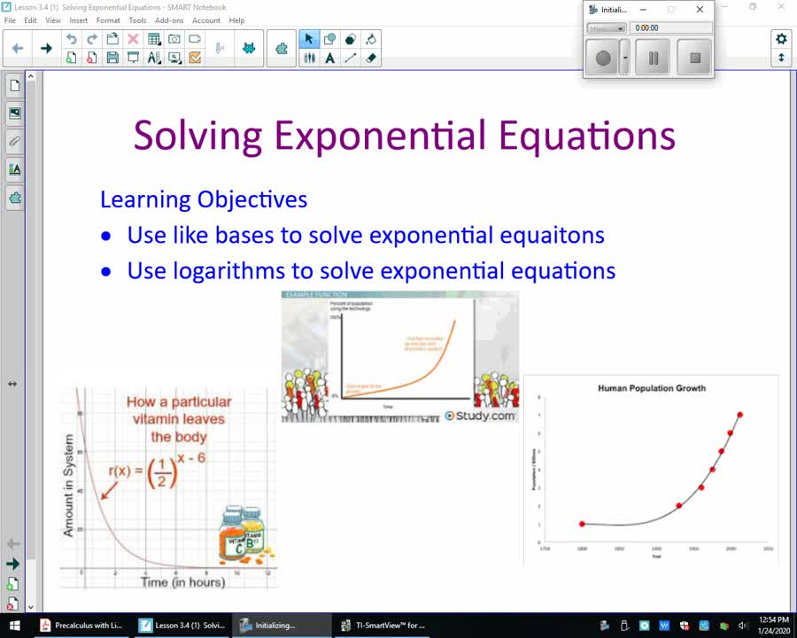 Precalculus Lesson 3.4 Solving Exponential Equations With Like Bases