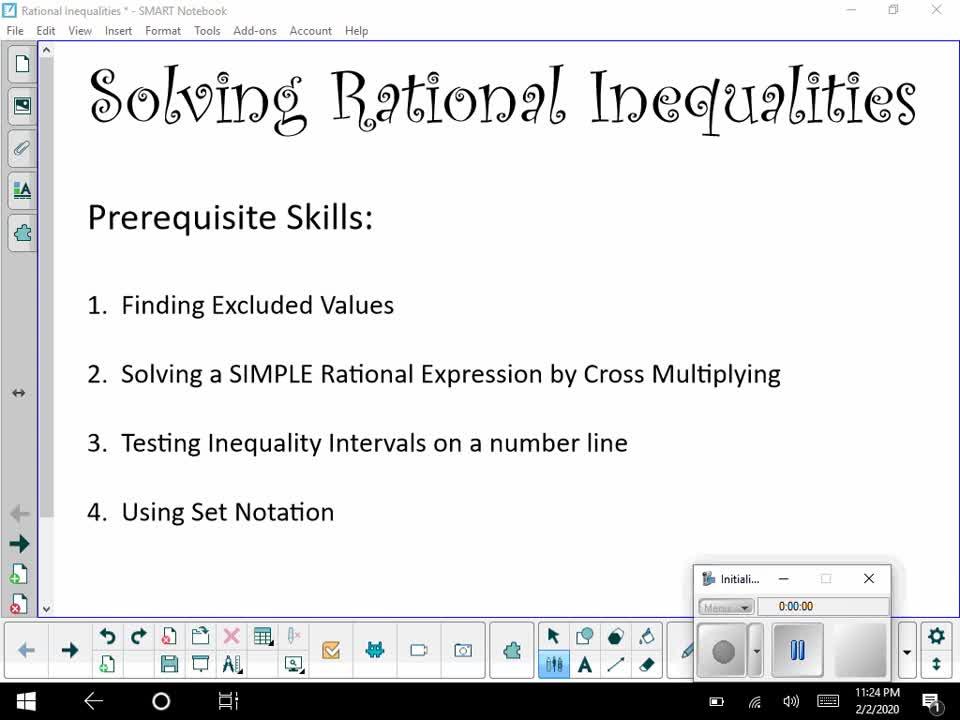 Solving Rational Inequalities Prerequisite Skills