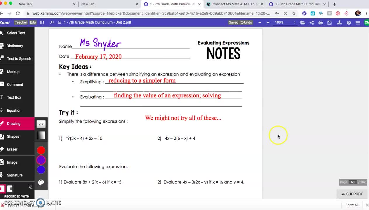 Simplifying and Evaluating Expressions