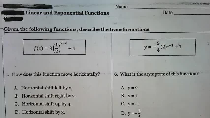 Exponentials Transformation Day 2