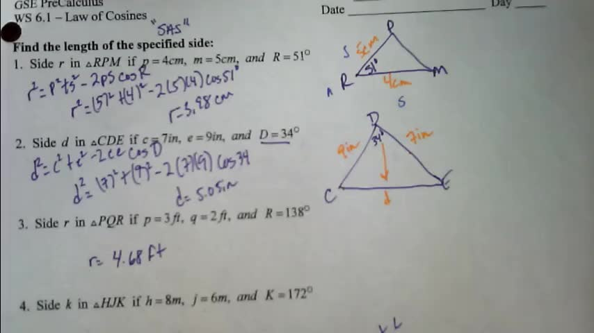 Law of Cosines WS Homeowrk