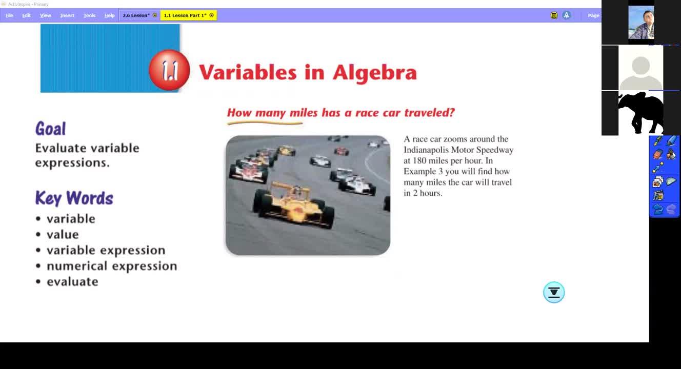 1.1 Variables in Algebra Lesson