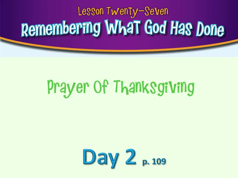 Bible Lesson 27 - Day 2 3/24/20