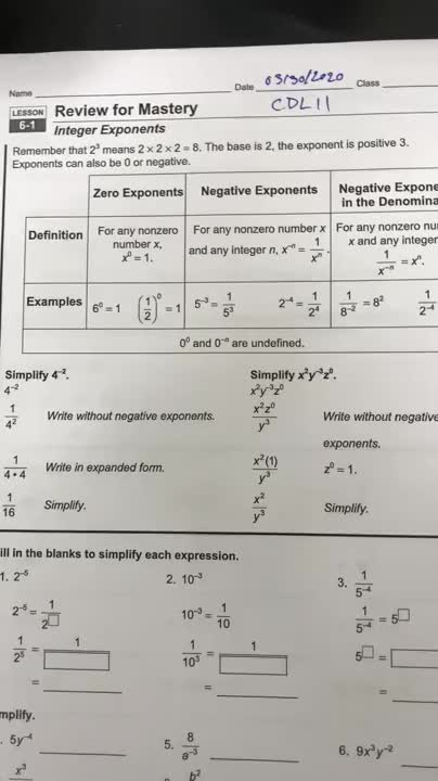CDL Day 11 Integer Exponents