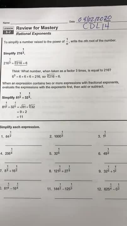 CDL Day 14 Rational Exponents
