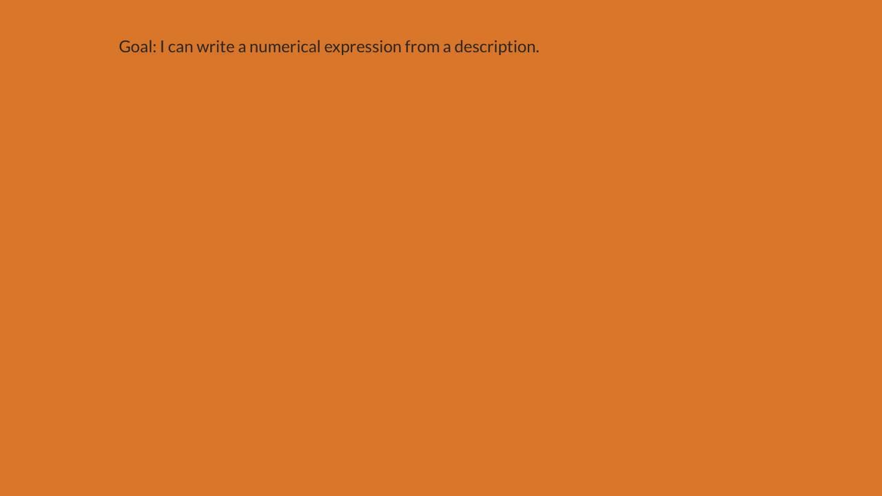Describe A Numerical Expression