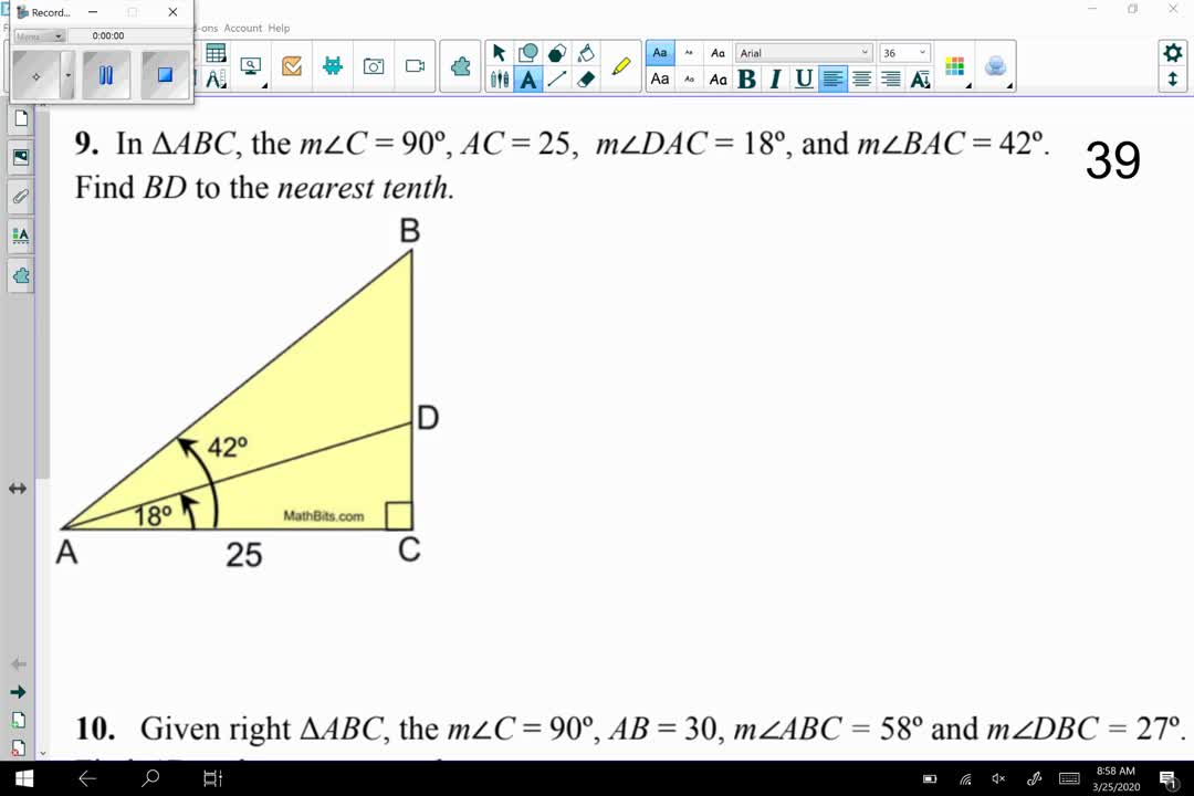 More Trig Applications: Double Right Triangles