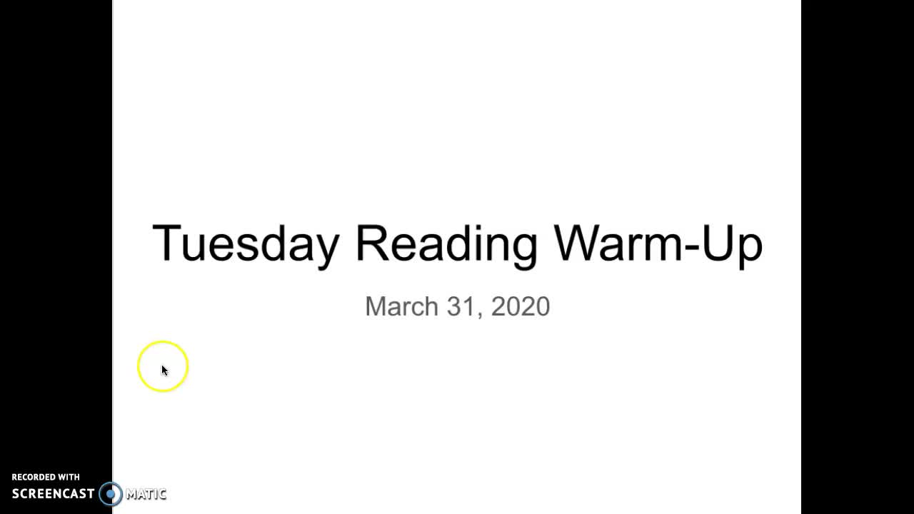 Tues 3/31 Reading Warm Up OA
