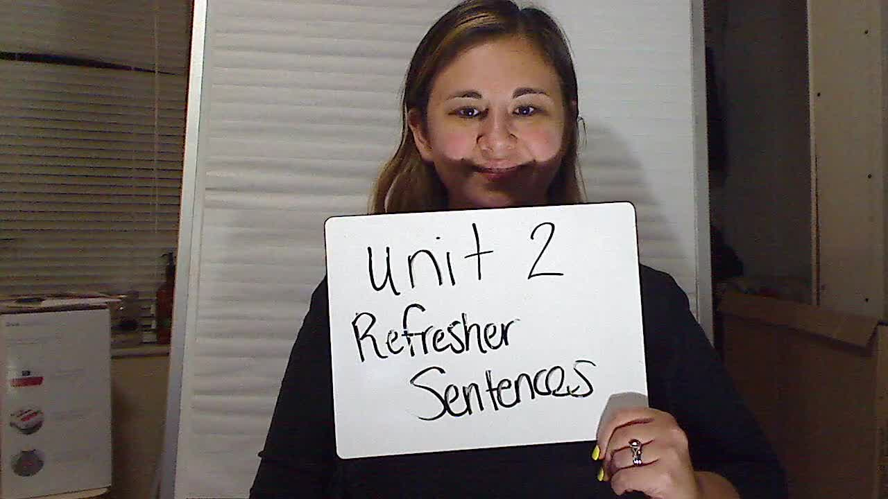Unit 2 Refresher Sentences