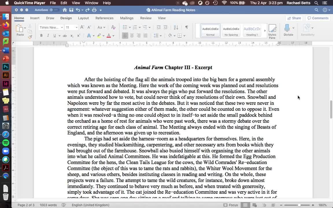 Animal Farm Chapter 3