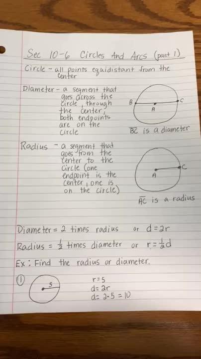 4-6-2020 Geometry Diameter, Radius, Circumference