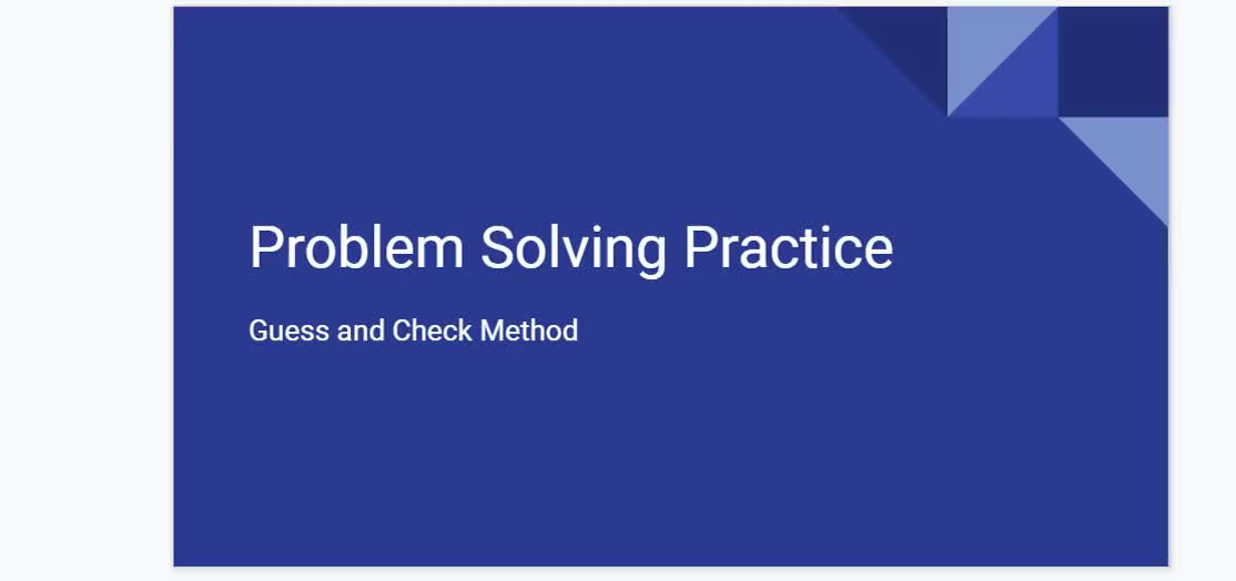 Guess and Check Problem Solving Explanation