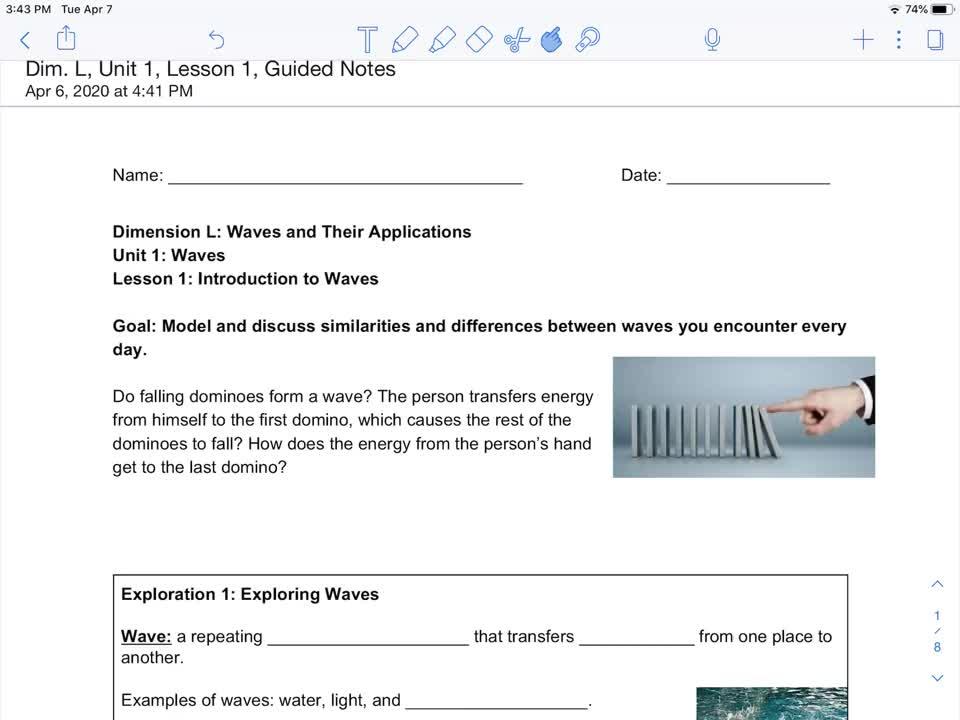 Waves: Dim. L, Unit 1, Lesson 1, Exploration 1