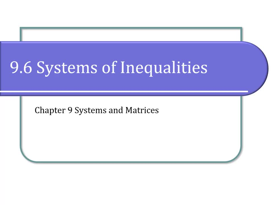 9.6 Systems of Inequalities (with Narration)