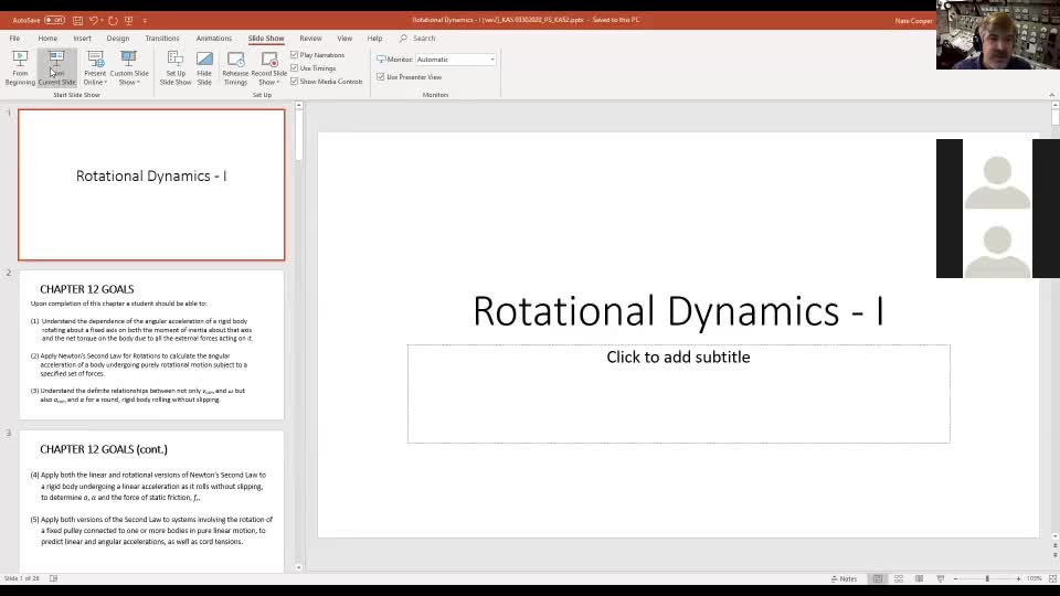 Physics 2 Rotational Dynamics Lecture 1