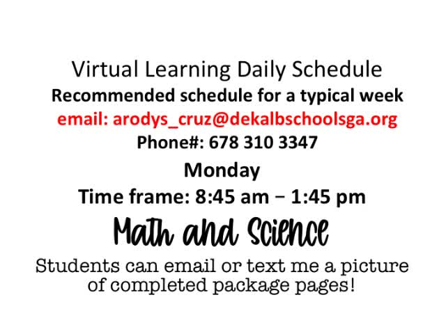 Dekalb Public Schools Virtual Learning Calendar