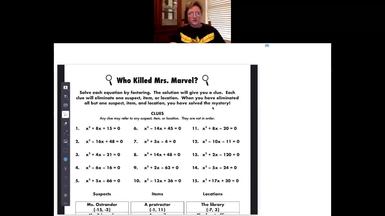 Algebra At-Home Class Tues 4-14-20
