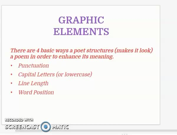 Examples of Graphic Elements in Poetry