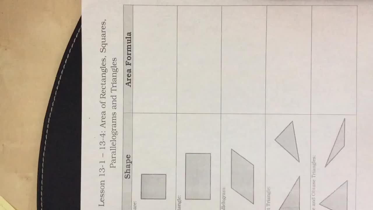 Area Formula Notes