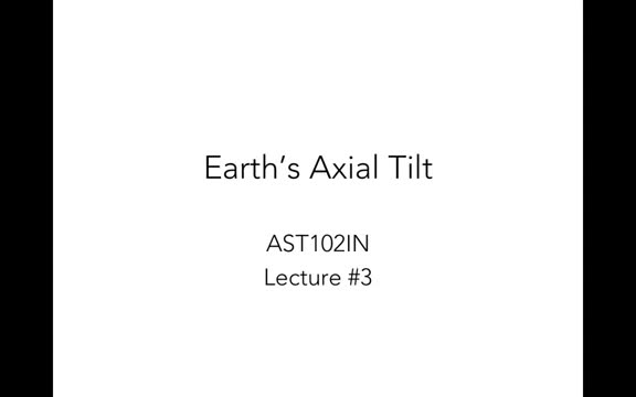Lecture 3 - Earth's Tile and the Seasons