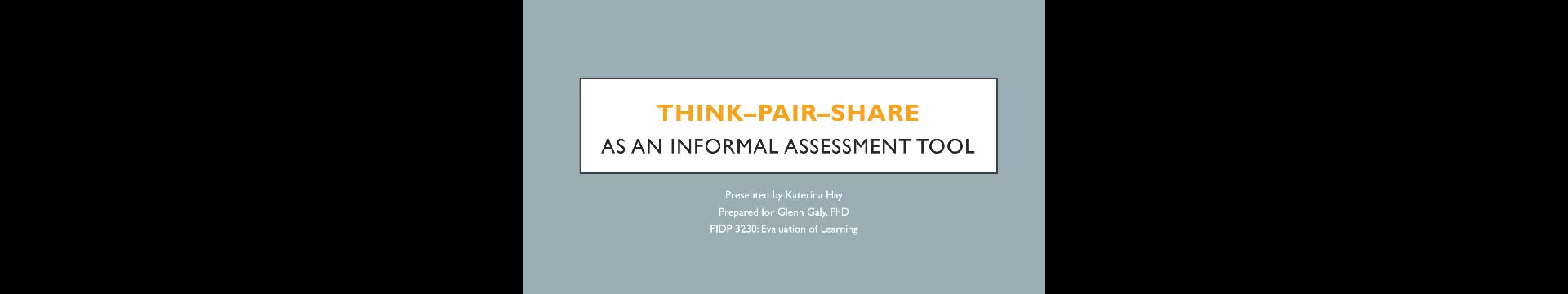 Think-Pair-Share as an Assessment Tool