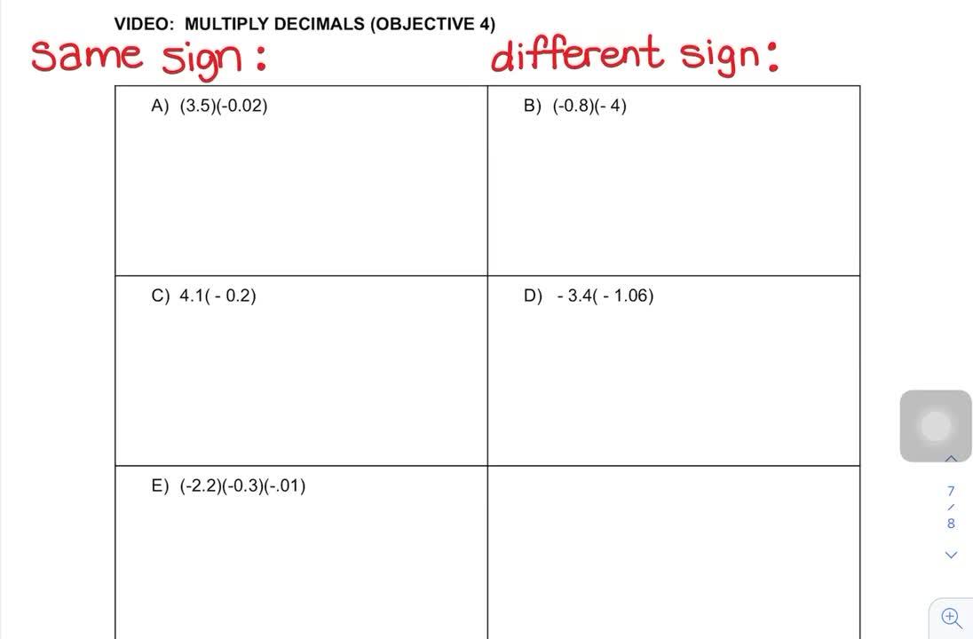 Multiply Signed Decimals