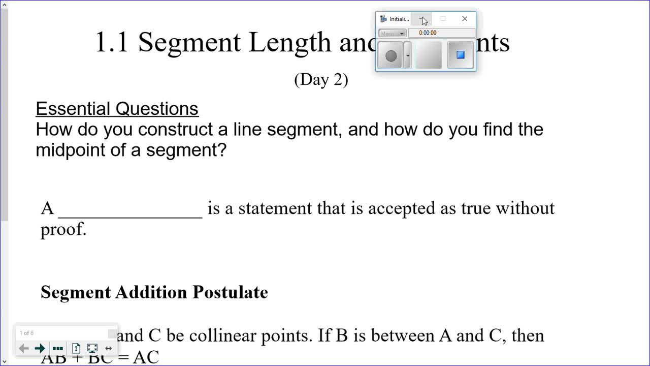 Module 1.1 (day 2) Copying Segments and Calculating Midpoint of a Segment