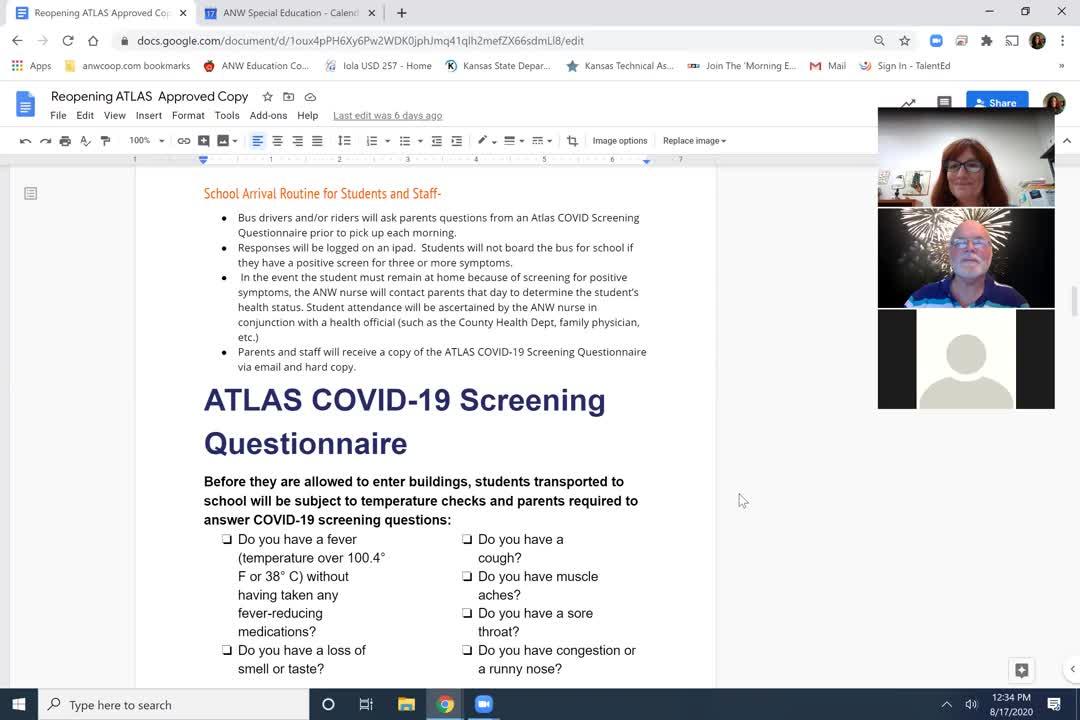 ANW COVID19 Transportation Health Screening Procedures
