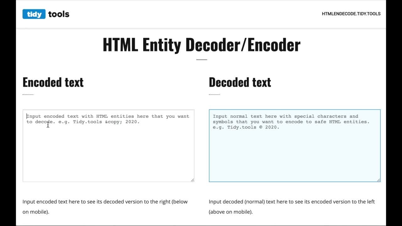 How to decode and encode HTML entities