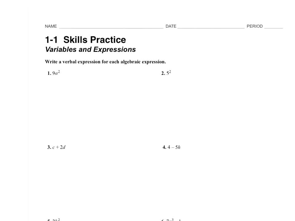 1.1 Skills Practice: Variables and Expressions