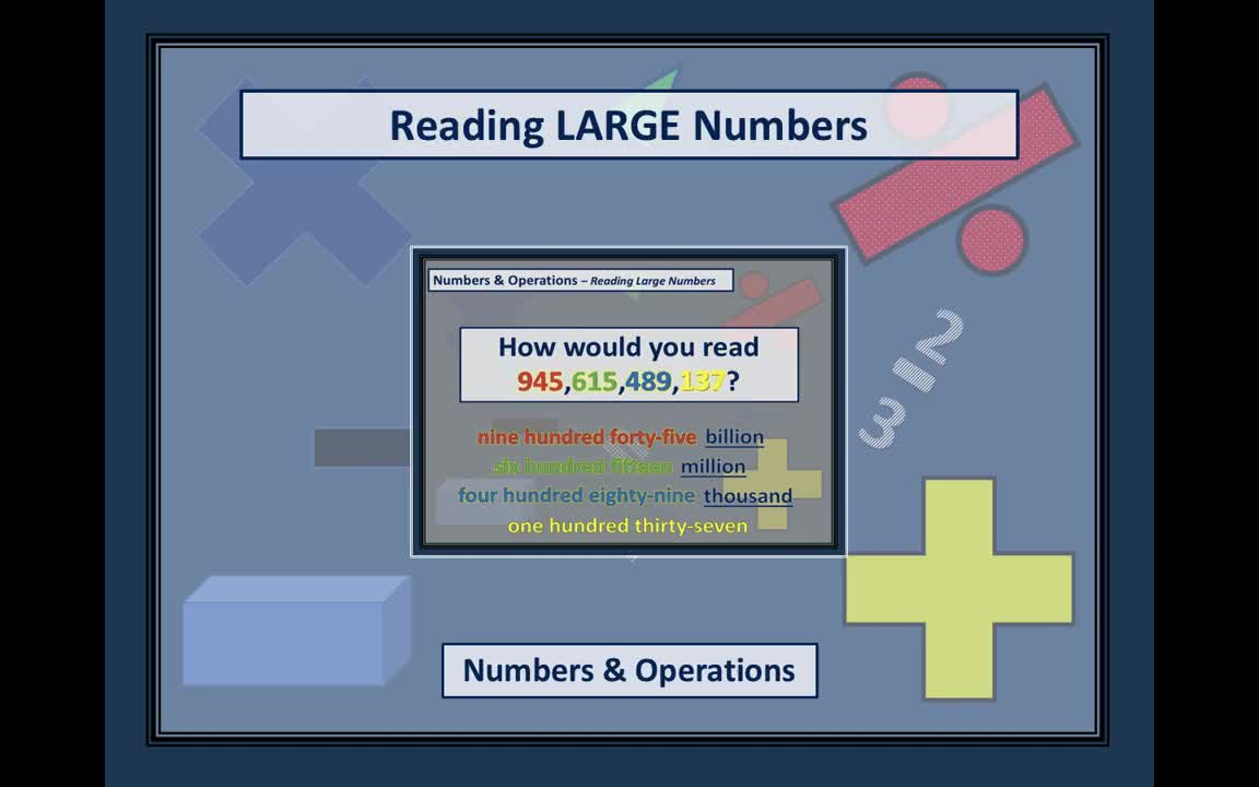 Mr. Lee - Video Tutorial - Reading Large Numbers