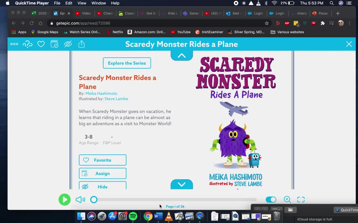 Scardy Monster Rides A Plane