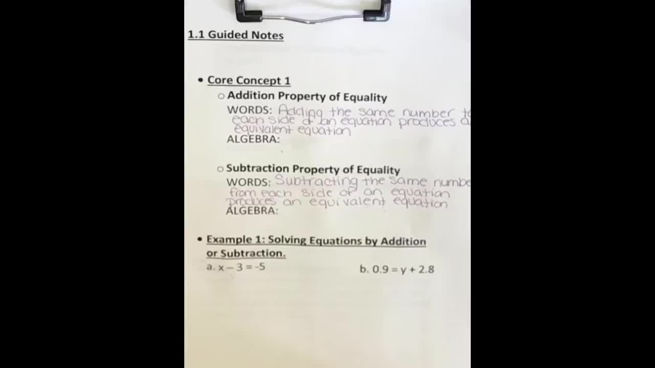 1-1 Notes Part 1 - Solving Simple Equations Using the Addition and Subtraction Properties of Equality
