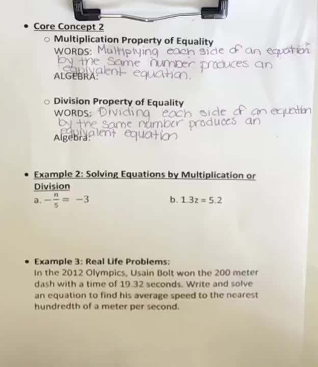 1-1 Notes Part 2 - Solving Simple Equations Using the Multiplication and Division Properties of Equality